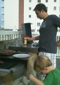 Uncle Matt grills up some stuff for us