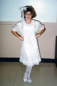 This is the most 80's photo I could find of myself. I love the big lace bow.