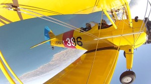 Lesley doing biplane aerobatics